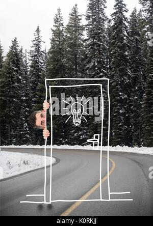 Digital composite of Man hiding behind a draw on the road - Stock Photo