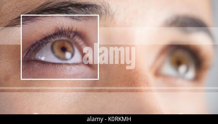 Digital composite of woman with eye focus box detail and lines - Stock Photo
