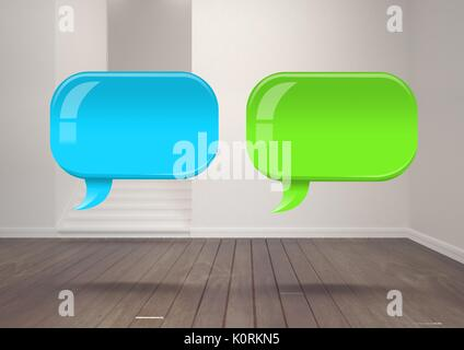 Digital composite of Two Shiny chat bubbles floating in room - Stock Photo
