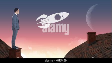 Digital composite of Rocket icon and Businessman standing on Roofs with chimney and moon sky - Stock Photo