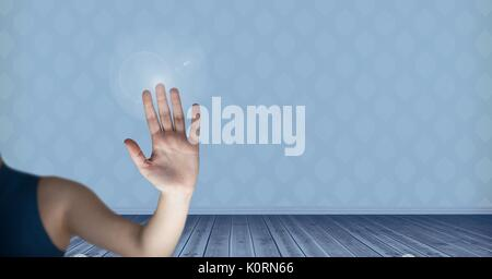 Digital composite of Hand interacting with the air - Stock Photo