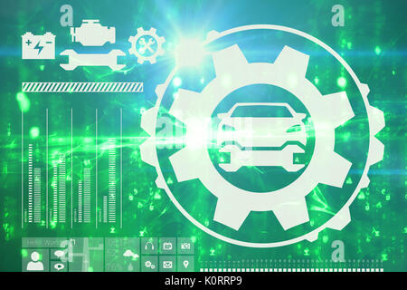 Digital image of tools and car against digitally generated image of abstract pattern - Stock Photo