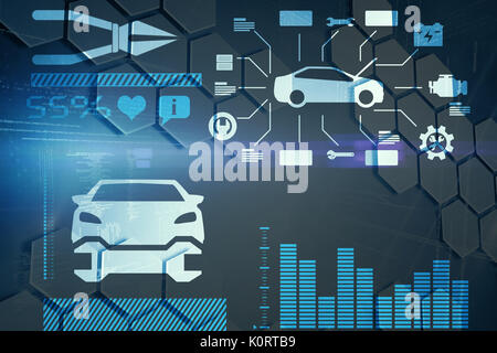 Digital composite image of car surrounded by tools against hexagons in molecular structures - Stock Photo