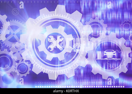 Composite image of car tools against abstract blue text - Stock Photo