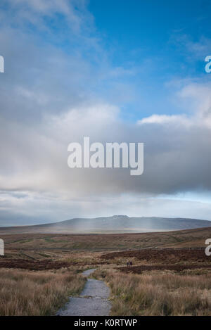 Quick rain shower near Penyghent in the Yorkshire Dales - Stock Photo