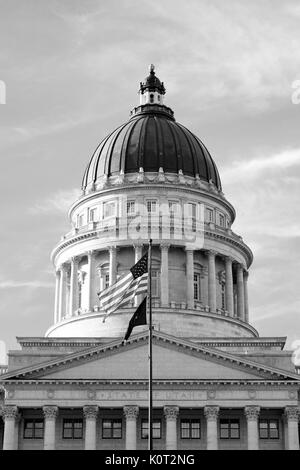 Top of Utah State Capital Building in black and white - Stock Photo