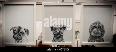 Three framed black and white drawings of puppies. Landscape format. - Stock Photo