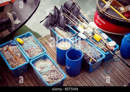 Fishing boats and fishing equipment in the Marina of Brighton (UK), 2016. - Stock Photo