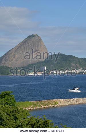 Panoramic view of Sugar Loaf Mountain in Guanabara Bay, Rio de Janeiro, Rio de Janeiro, Brazil, 04.2017 - Stock Photo