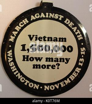 A pin advertising the march on Washington D.C. that took place from November 13th to the 15th 1969, the march took - Stock Photo