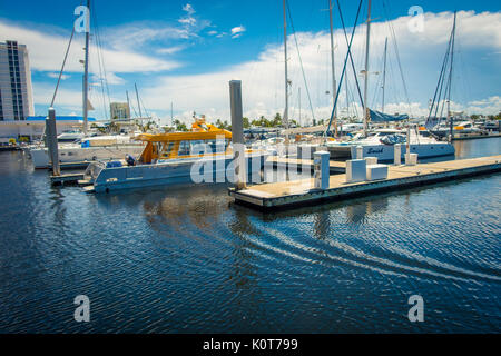 FORT LAUDERDALE, USA - JULY 11, 2017: A line of boats displayed for sale at the Fort Lauderdale International Boat - Stock Photo