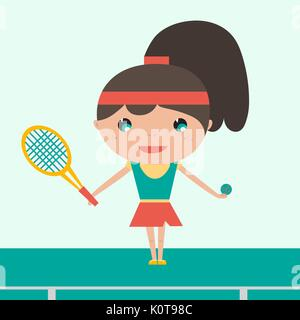 Smiling sportswoman Young tennis player holding racket and ball. Cheerful woman playing tennis. Vector flat design - Stock Photo