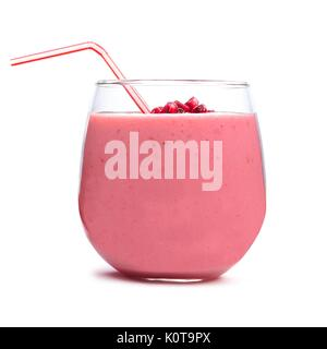 Pomegranate raspberry smoothie in a tumbler glass isolated on white - Stock Photo