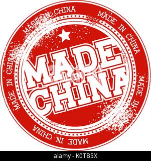 made in china grunge stamp isolated on white background - Stock Photo