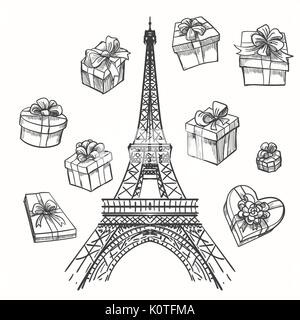 Gifts from Paris vector illustration. Eiffel tower and gift boxes - Stock Photo