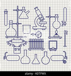 Chemical lab thin line icons set on notebook page, vector illustration - Stock Photo