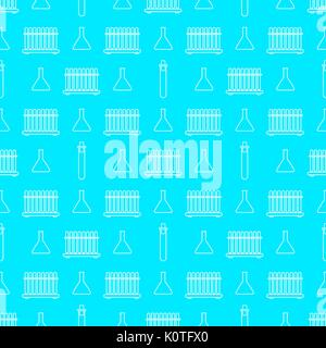 Chemistry seamless pattern with white line beakers. Vector illustration - Stock Photo