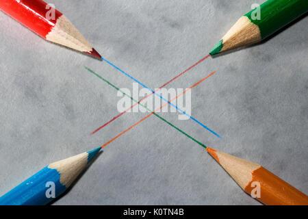 pencil art 4 colour pencils with line art - Stock Photo