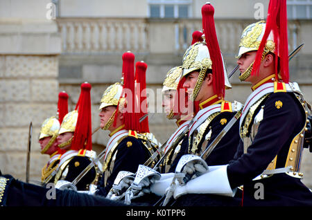 London, England, UK. Blues and Royals, part of the Household Cavalry, changing the guad on Horse Guards Parade - Stock Photo