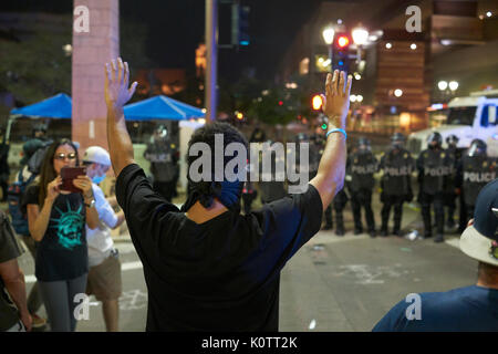 Trump Rally in Phoenix Arizona Protesters and Supporters - Stock Photo