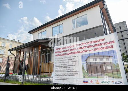 VORONEZH, RUSSIA - AUGUST 24, 2017: The first Russian-Japanese two-storey smart home made of wood and eco-friendly - Stock Photo