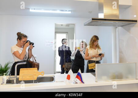 VORONEZH, RUSSIA - AUGUST 24, 2017: The kitchen of the first Russian-Japanese two-storey smart home made of wood - Stock Photo