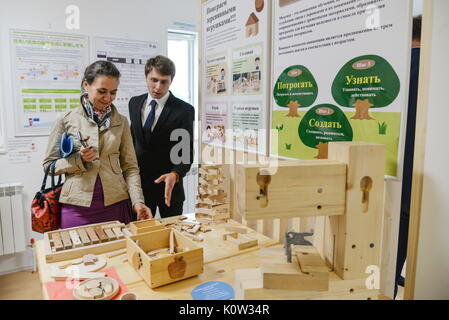 VORONEZH, RUSSIA - AUGUST 24, 2017: Wooden toys of the first Russian-Japanese two-storey smart home made of wood - Stock Photo