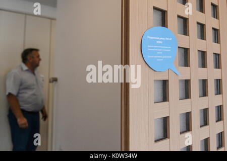 VORONEZH, RUSSIA - AUGUST 24, 2017: A door of the first Russian-Japanese two-storey smart home made of wood and - Stock Photo
