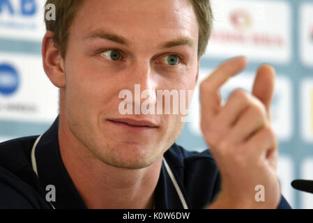 Berlin, Germany. 25th Aug, 2017. Javelin thrower Thomas Roehler, 2016 Olympic Champion and 4th in the World Championships, - Stock Photo