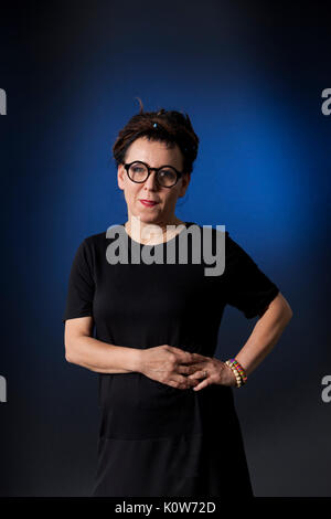 Edinburgh, UK. 25th August 2017. Olga Tokarczuk, the Polish writer, appearing at the Edinburgh International Book - Stock Photo