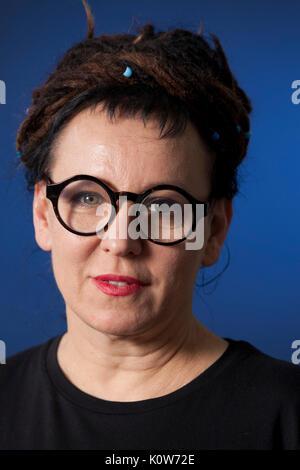 Edinburgh, UK. 25th August 2017. Olga Tokarczuk, the Polish writer, appearing at the Edinburgh International Book - Stock Photo
