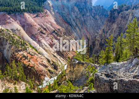 A view looking down the Grand Canyon of the Yellowstone from Artist Point in Yellowstone National Park, Wyoming - Stock Photo