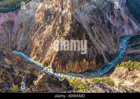 A wide, sweeping turn of the raging Yellowstone River below Inspiration Point in Yellowstone National Park, Wyoming - Stock Photo