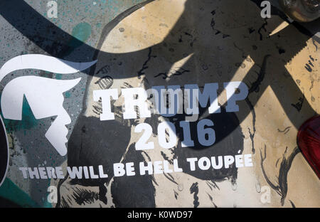 """Amusing Vehicle Sticker Decal About Donald Trump Preseidential Campaign 2016, """"Trump 2016 There Will Be Hell Toupee†- Stock Photo"""