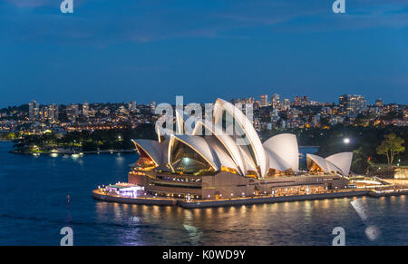 Sydney Opera House at dusk, Opera, Financial District, Banking district, Sydney, New South Wales, Australia - Stock Photo