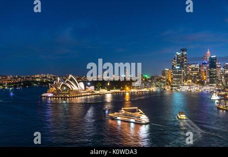 Circular Quay and The Rocks at night, skyline with Sydney Opera House, Opera, Financial District, Banking district, - Stock Photo