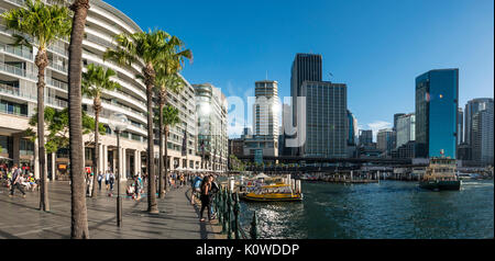 Harbor promenade and financial district, docklands The Rocks, Sydney, New South Wales, Australia - Stock Photo