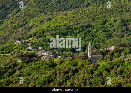 Hillside town of Sisco, Cap Corse, Haute-Corse department, Corsica, France - Stock Photo