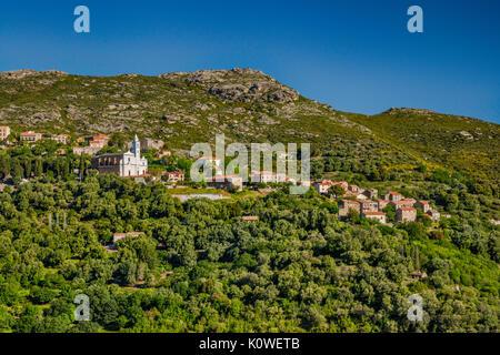 Hill town of Santo-Pietro-di-Tenda, Nebbio region, Haute-Corse department, Corsica, France - Stock Photo
