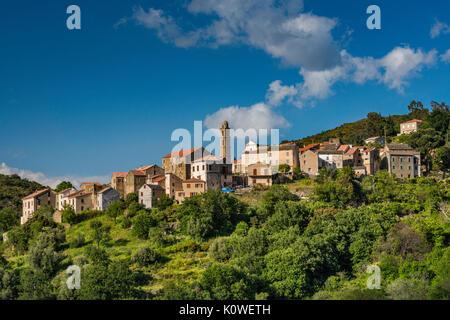 Hill town of Pieve, Nebbio region, Haute-Corse department, Corsica, France - Stock Photo