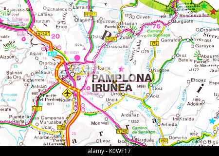 Pamplona Irunea map city map road map. - Stock Photo