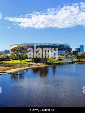 Optus Stadium and the Swan River.