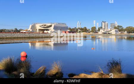 Construction work on Matagarup Bridge linking East Perth and Perth Optus Stadium in Burswood - Stock Photo