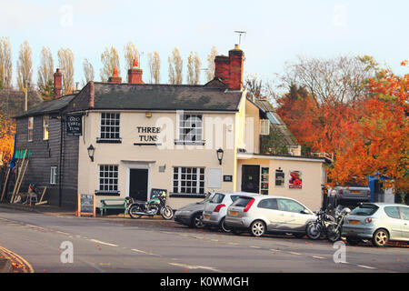 British traditional house style in Autumn winter. Pub building of English town in England UK : 16 November 2016. - Stock Photo