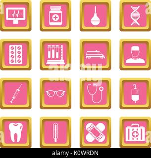 Medicine icons pink - Stock Photo