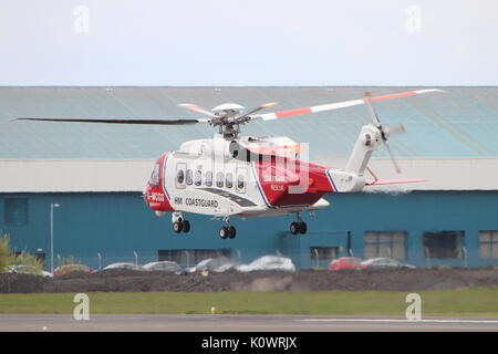 G-MCGG, a Sikorsky S-92 operated by Bristow Helicopters on behalf of HM Coastguard, at Prestwick International Airport - Stock Photo