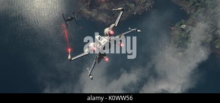 TIE FIGHTER, X-WING, STAR WARS: EPISODE VII - THE FORCE AWAKENS, 2015 - Stock Photo