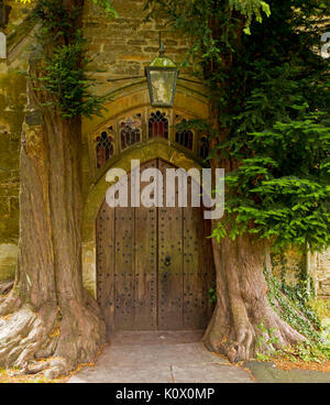 Unusual arched door framed by trunks of 200 year old yew trees at medieval St. Edward's church at Stow-on-the-wold, - Stock Photo