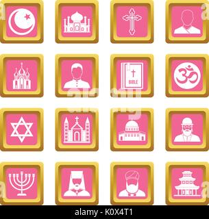 Religious symbol icons pink - Stock Photo