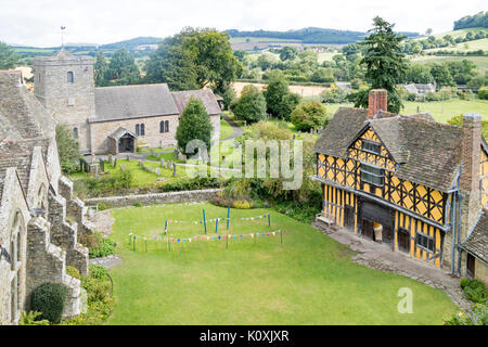 Stokesay Castle a medieval fortified manor houses, Shropshire, England, UK - Stock Photo